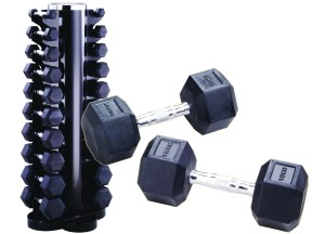 York 1-10Kg Rubber Hex Dumbell Club Pack with Rack