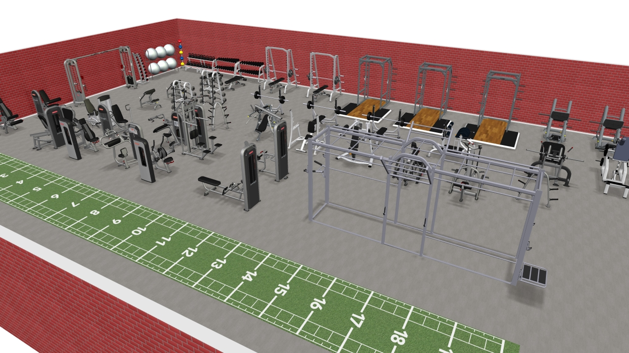 D gym design fitness equipment ni