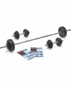 York Fitness 50KG Barbell & Dumbbell Spinlock Set