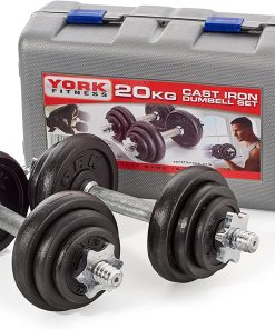 York 20 KG Black Cast Iron Dumbbell Spinlock Set in a Case